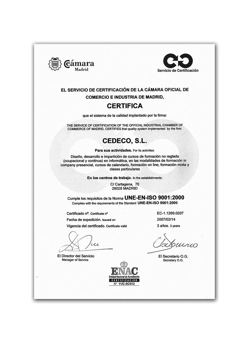 CEDECO Certificado ISO 9000 para cursos de informática a empresas en Madrid